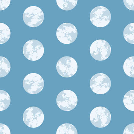 Full moon vector background pattern. Abstract textured circles seamless illustration.