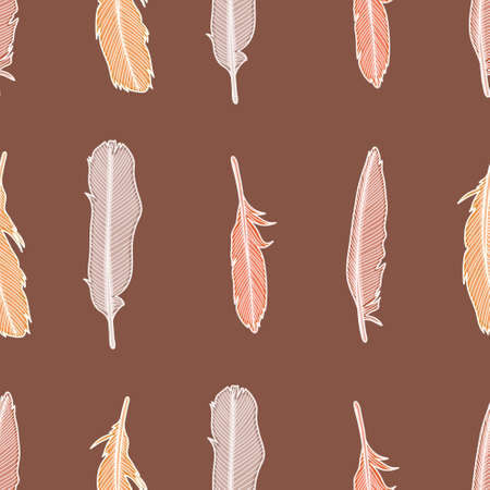 Seamless earth tone feathers pattern seamless. Outlined plumage illustration background. 向量圖像