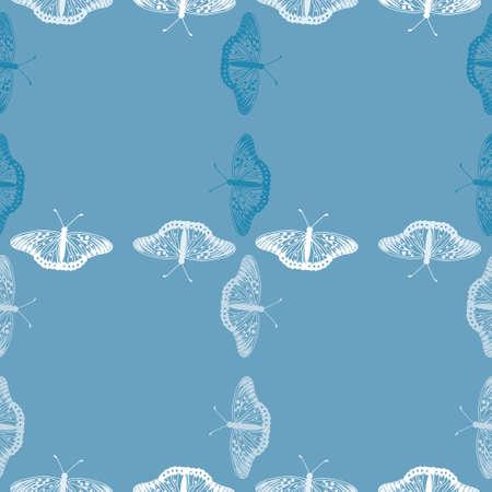 Seamless grid butterfly pattern vector. Blue bug outline illustration background.