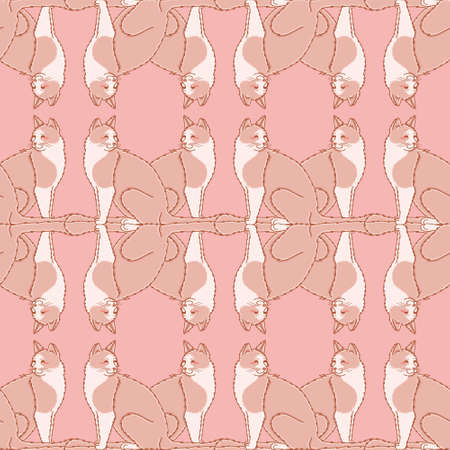 Vector fluffy kitten pattern seamless. happy cat illustration background.