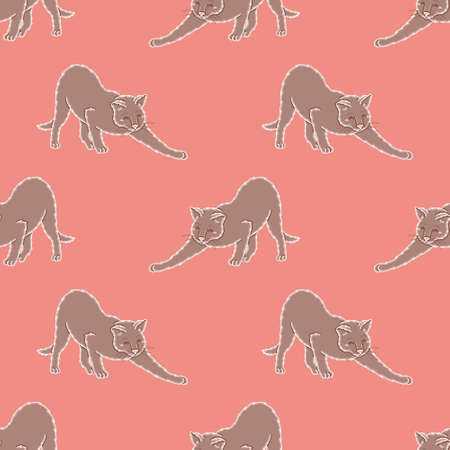 Cat stretching surface pattern design. Cute kitten seamless vector illustration.