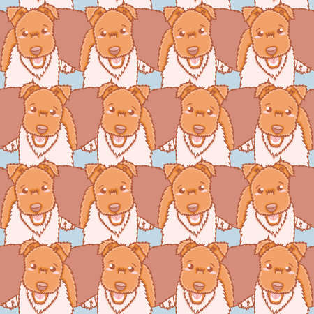 Seamless fox terrier pattern vector. Cute happy dog illustration background.