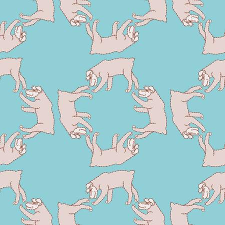 Vector walking schnauzer pattern seamless. Cute little dog illustration background.
