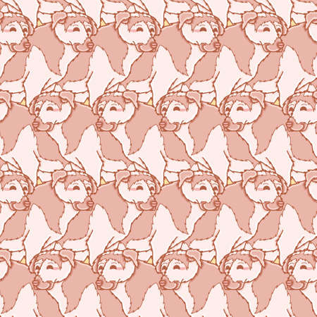 Vector happy dog group pattern seamless. Cute canine illustration background. 向量圖像