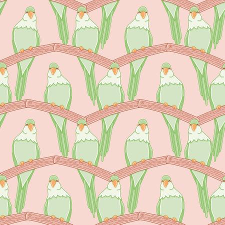 Zig zag monk parakeet seamless vector pattern. Cute parrot on a branch illustration background.