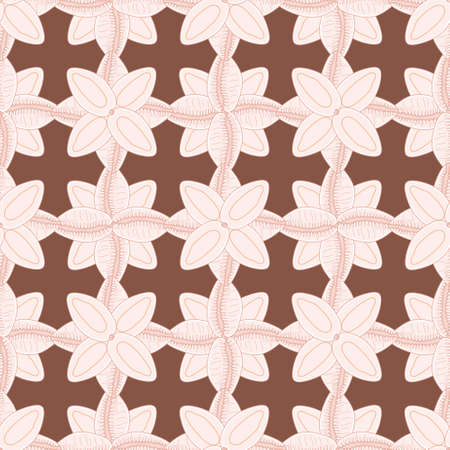 Seamless doodle seashell pattern vector. Coffee bean trivia illustration background.