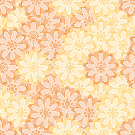 Vector ruddles flower seamless pattern. Yellow and orange floral illustration background.