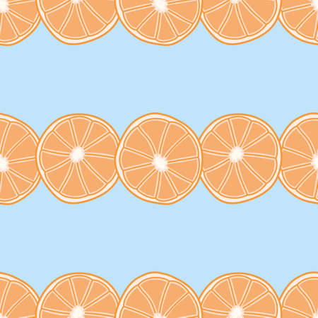 Seamless half orange pattern vector. Doodle citrus slice illustration background.