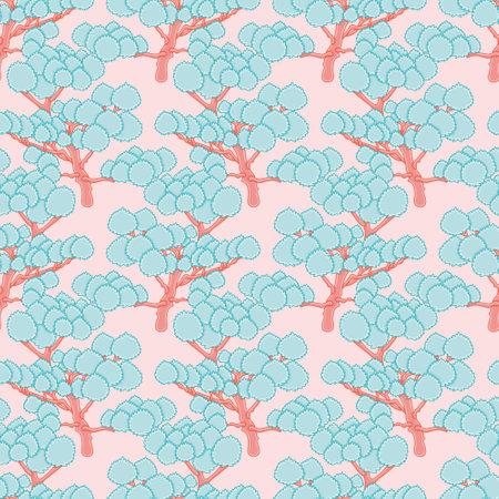 Doodle forest seamless vector pattern. Fantasy trees illustration background. 向量圖像