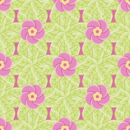 Pink geometric floral vector background pattern. Leaves and flowers seamless illustration. 向量圖像