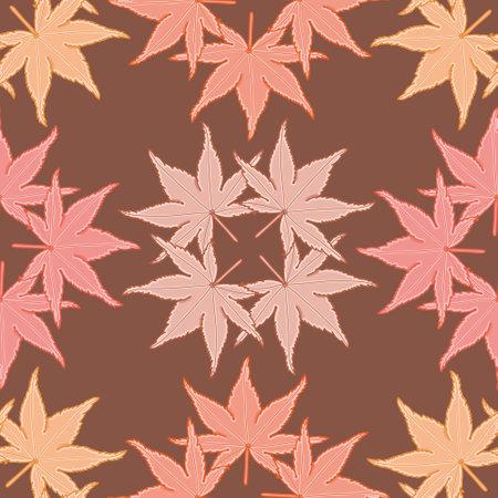 Seamless palmate maple leaves pattern vector. Autumn vegetation illustration background. 向量圖像