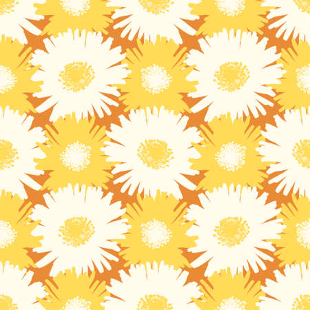 Abstract flower silhouette seamless vector pattern. White and yellow sour fig illustration background. 向量圖像