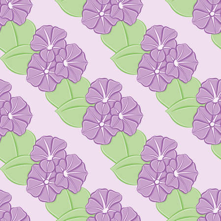 Morning glory vector repeat pattern. Cute purple flowers and leaves illustration background.
