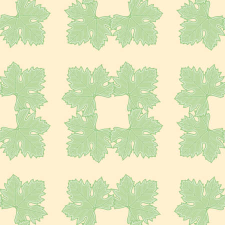 Vector grapevine leaf squares pattern seamless. Cute palmated foliage illustration background.