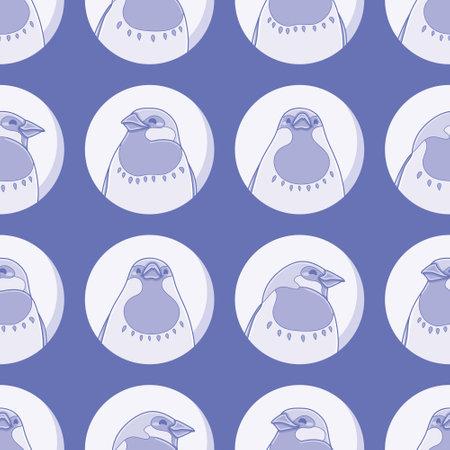 Seamless blue bird pattern vector. Cute happy sparrow illustration background. 向量圖像