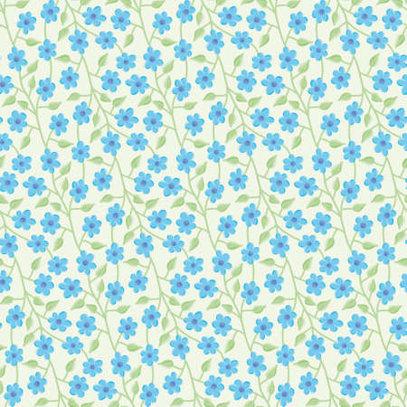 Little blue flowers vector repeat pattern. Cute floral lattice seamless illustration background.