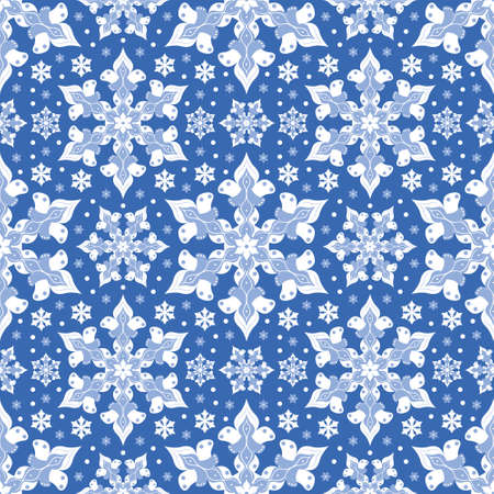 Cute snowflakes seamless vector pattern. Abstract winter illustration background.
