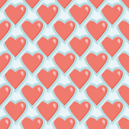 Overlapped hearts vector repeat pattern. Aqua and pink romantic illustration background.