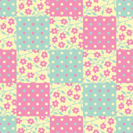 Square patchwork vector repeat pattern. Floral and polka dot illustration background.