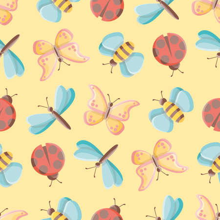 Cute bugs vector repeat pattern. Simple insects illustration background. 向量圖像