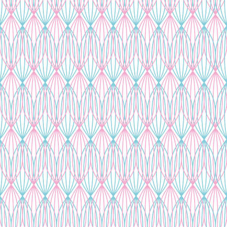 Vector repeat pattern of overlapped seed shapes created with stripes. Abstract line art illustration background. 向量圖像