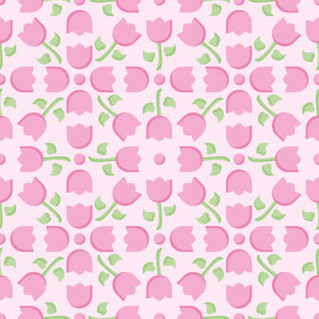 Pink tulip vector repeat pattern. Simple flowers and dots illustration background. 向量圖像