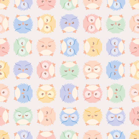Cute fluffy owls seamless pattern. Soft retro-colored vector illustration for children. 向量圖像