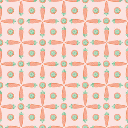 Minimalist carrot vector repeat pattern featuring side and up views of the vegetable 向量圖像