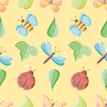 Cute insects vector repeat pattern. Bugs and leaves illustration background. 向量圖像