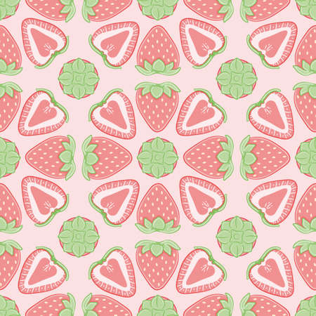 Vector strawberry slice repeat pattern. Cute pink fruit seamless illustration background.