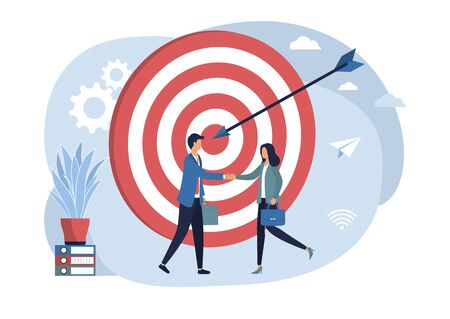 Creative man and woman shake hands. The concept of achieving the company's goal, partnership, long-term planning and management strategy, teamwork. Vector flat illustration on a white background.
