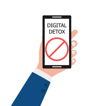 Digital detox. A male hand holds a smartphone with an inscription and a symbol of rejection of gadgets, devices, the Internet, communication on social networks. Flat vector illustration white back