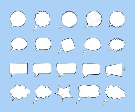 Collection of blank comic speech bubble. Dialogs are round, rectangular, oval, in the form of a cloud. Vector flat illustration on blue background.