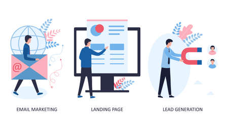 3 concepts email marketing, landing page, lead generation. Website promotion by sending e-mails to customers. Creation of a site for receiving orders for goods and services. Flat vector illustration.