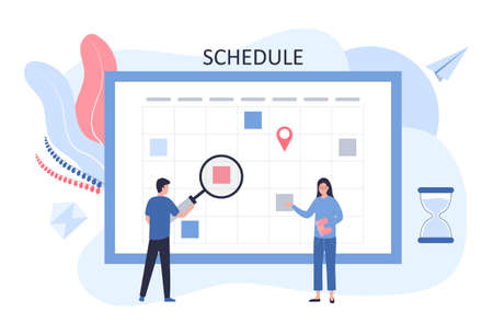 Schedule concept. The business team plans the work of the company. A man stands with a magnifier near the dashboard, a woman with a tablet. Flat vector illustration for web sites, infographics.