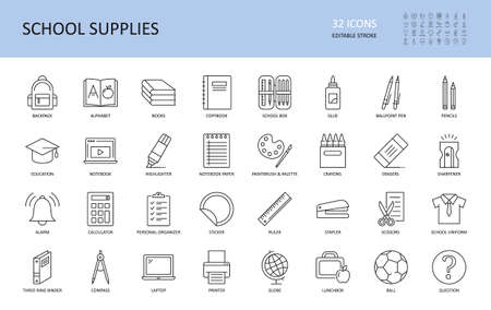 Vector school supplies icons. Editable stroke. Stationery alphabet book backpack, copybook plastic box glue stick. Ballpoint pen pencil crayon, scissors stapler ruler notebook paper highlighter globe.