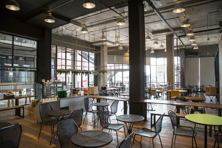 beautiful coffee shop or cafe restaurant:  Interior design of a cafe. Retro style with modern approach