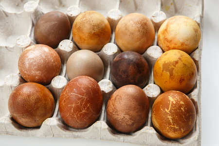 top front view shot of a box of twelve original, unique colorful dragon or dinosaur looking like chicken Easter eggs, dyed with natural products (red wine, tea, coffee, carrots, turmeric, soy sauce) 免版税图像