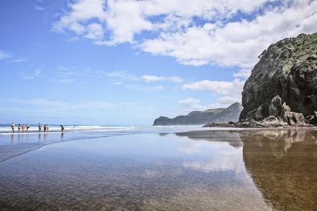 Reflection on a beach Stock Photo