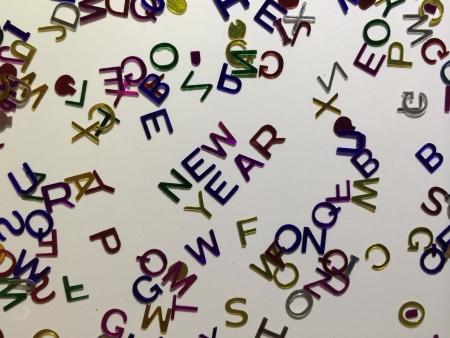 Shining new year alphabets decoration Stock Photo