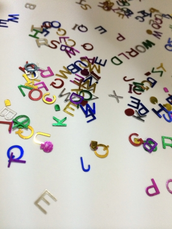 Alphabet decoration with the word world