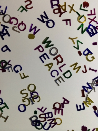 Colorful alphabets with world peace word Stock Photo