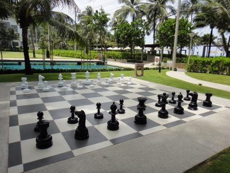 Huge chess set at Phuket resort Stock Photo