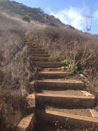 Stairways by the hill Stock Photo