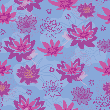 Vector Purple & Blue Water Lily Pad Flowers , Repeating Seamless Pattern Background, Delightful Illustration of Pink Lilies , a Floral Pond Plants for Fabric, Scrapbooking, Home Decor & Web Stationery