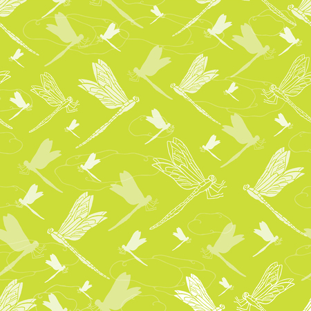 Vector Bright Green Dragonfly , Repeating Seamless Pattern Background, Delightful Illustration of Flying Dragonflies, Texture Insects Animal for Fabric, Scrapbooking, Home Decor & Web Stationery