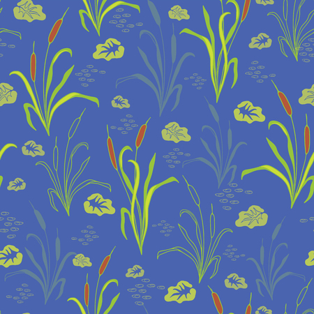Vector Bright Blue Water with Bulrushes , Lily Pads on the Pond , Repeating Seamless Pattern Background, Delightful Illustration of Reed Grass Lil for Fabric, Scrapbooking, Home Decor & Web Stationery Illustration