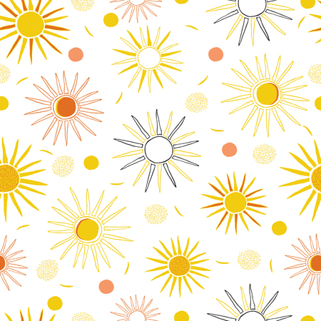 Vector Orange Yellow Summer Sun , Repeating Seamless Pattern Background, Delightful Illustration of Sunrays for Weather theme on Fabric, Scrapbooking, Home Decor & Web Stationery . Colorful Happy Vibe Illustration