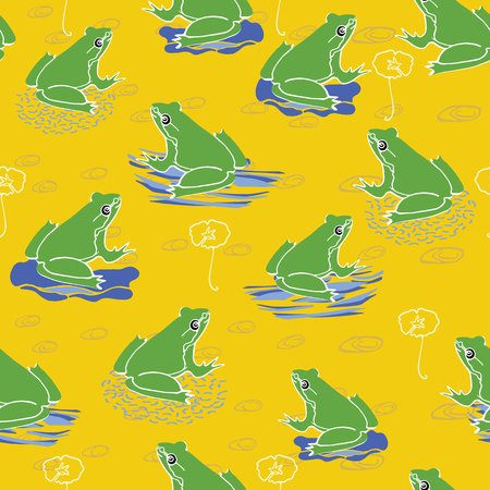 Vector Green Frog on Lily Pad in Summer Yellow, Repeating Seamless Pattern Background, Delightful Illustration of Pond Life for Fabric, Scrapbooking, Kids Home Decor & Web Stationery