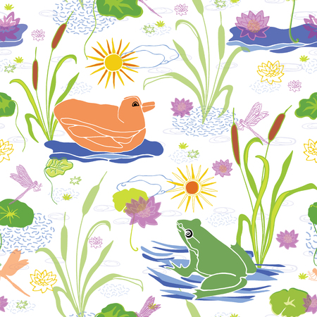 Vector green frog on lily pad & duck swimming on the pond water among the reed grass & bulrushes , delightful animal illustration suitable for kids rooms, nursery fabric, stationery & baby wallpaper Illustration